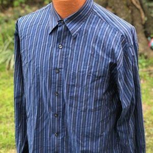 Men Van Heusen striped blue shirt